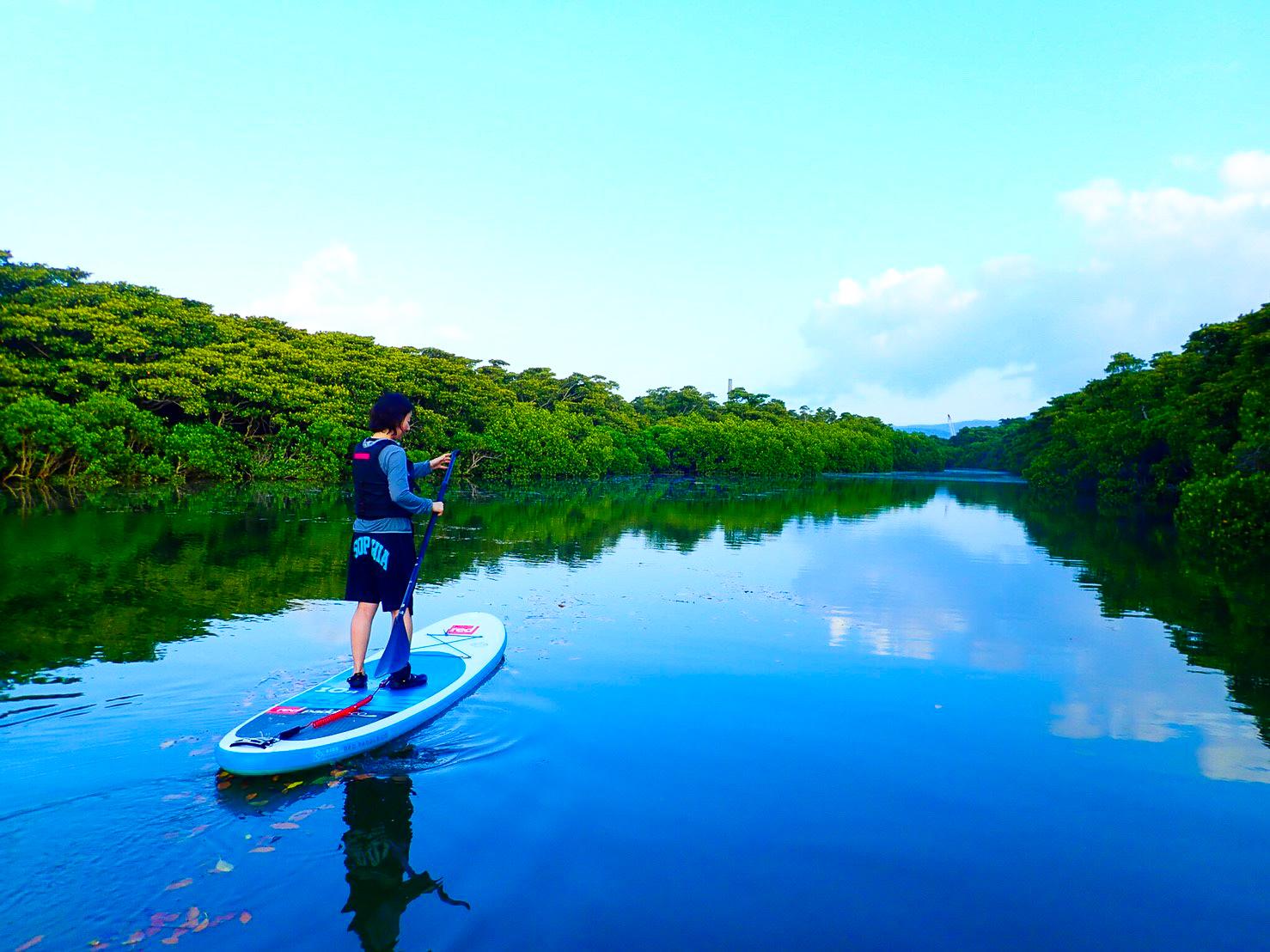 大自然の中をSUPを漕いで進む女性
