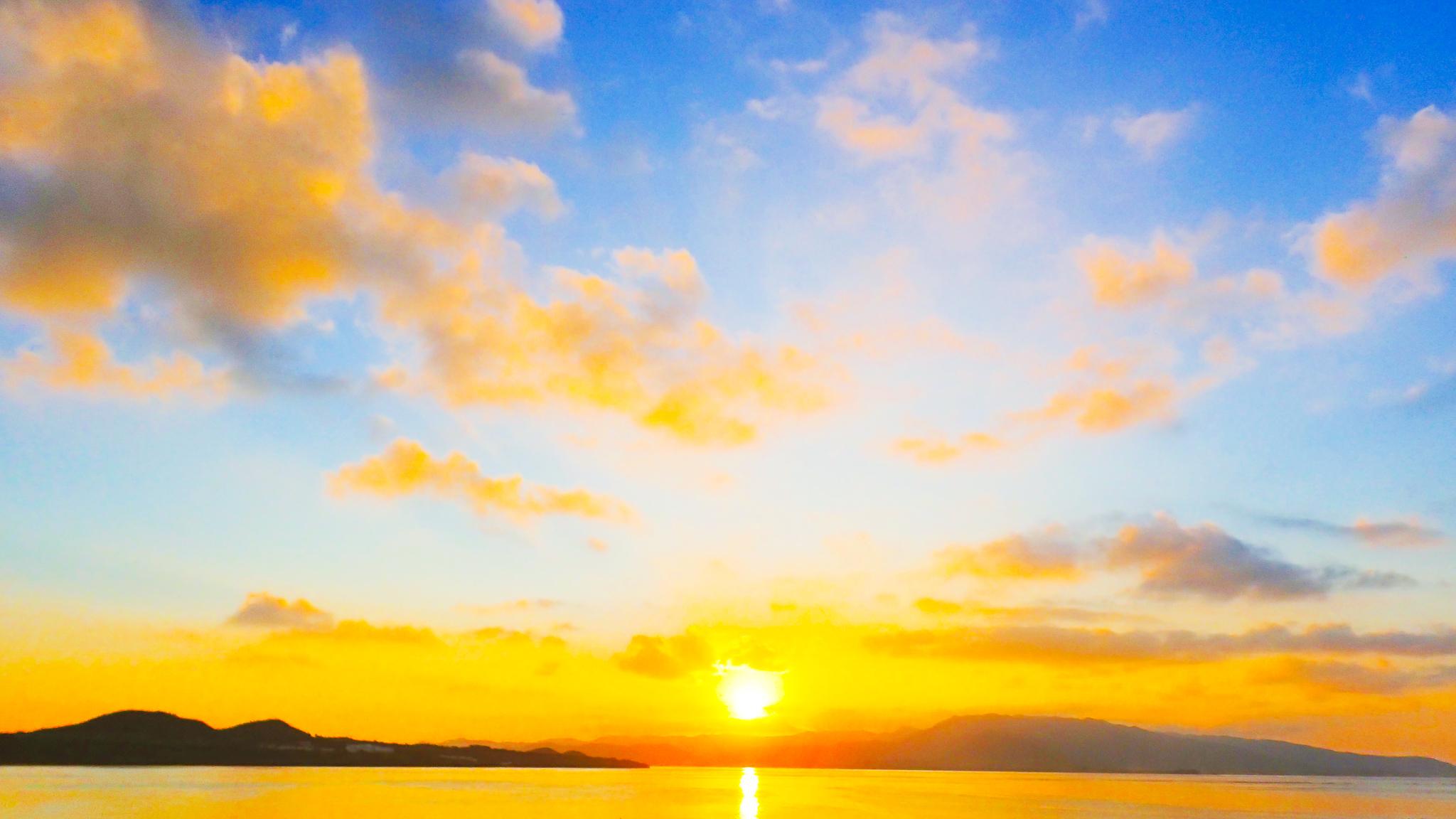 サンセットフィッシング中の夕日