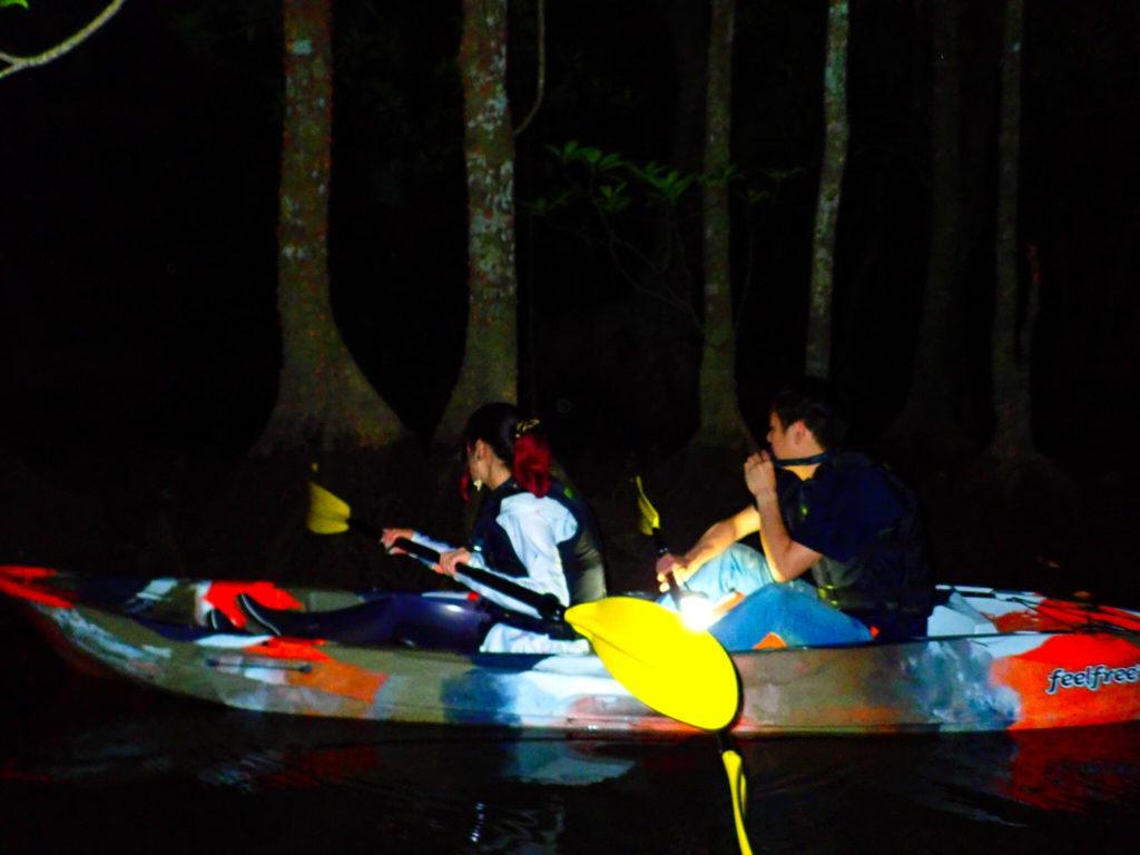 石垣島の夜のマングローブカヌー