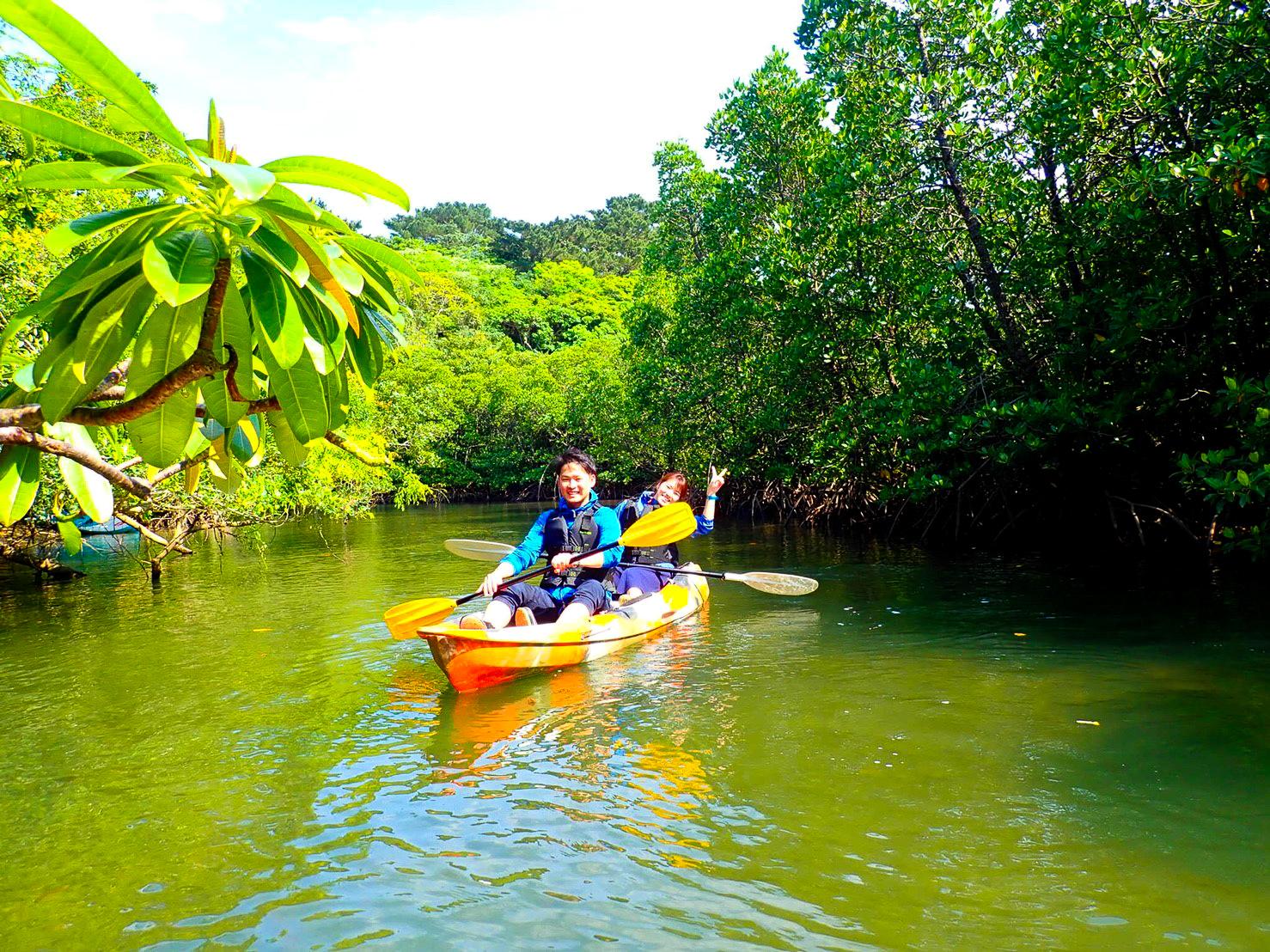 マングローブの中をカヌーで進むカップル