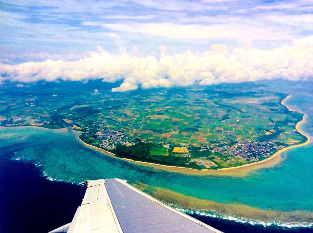 上空から見る石垣島の眺め