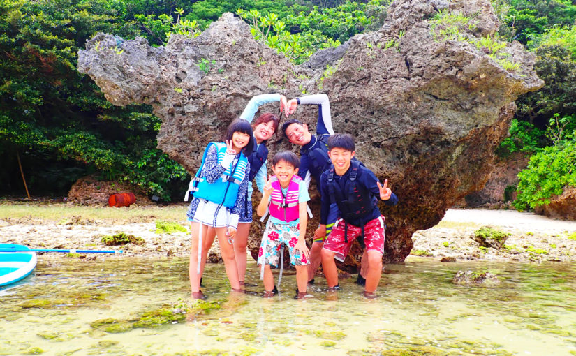 石垣島、川平湾SUP,家族で