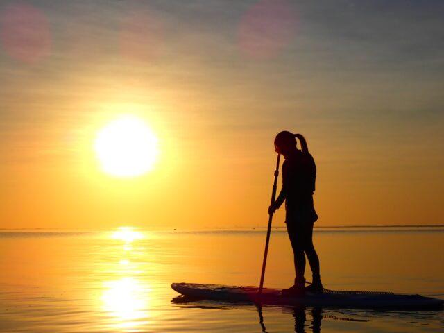 石垣島の夕日とSUP