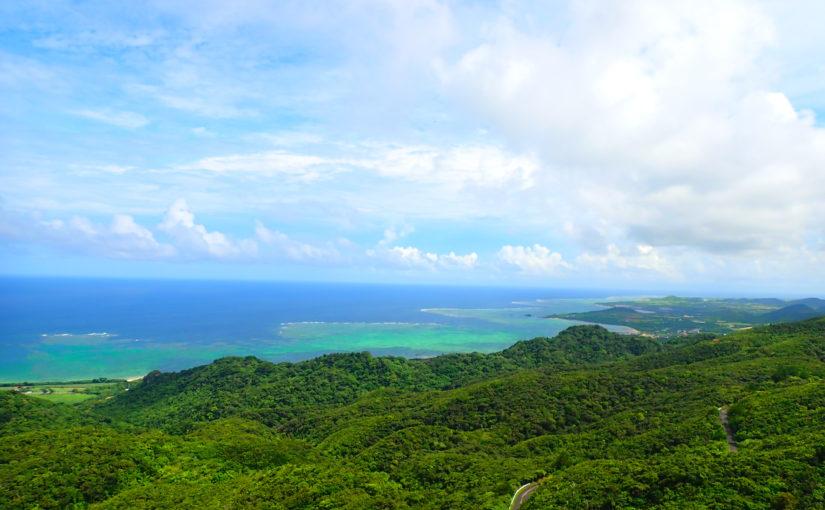 石垣島、野底岳(マーペー岳)トレッキング、山頂からの眺め、青空