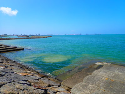 舟蔵公園に面している海